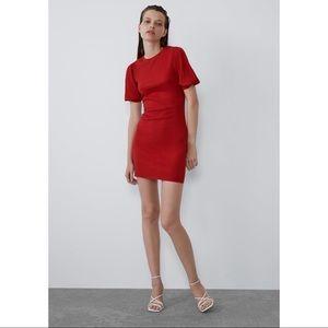 Zara Red Voluminous Textured Weave Dress